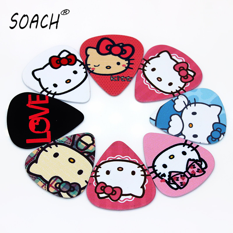 soach 10pcs 0 46mm guitar paddle blue background personality mixed pattern pvc double sided printing instrument accessories SOACH 10pcs New kitty cat bass guitar paddle Thickness 0.71mm plastic accessories acoustic guitar pick Mediator tools