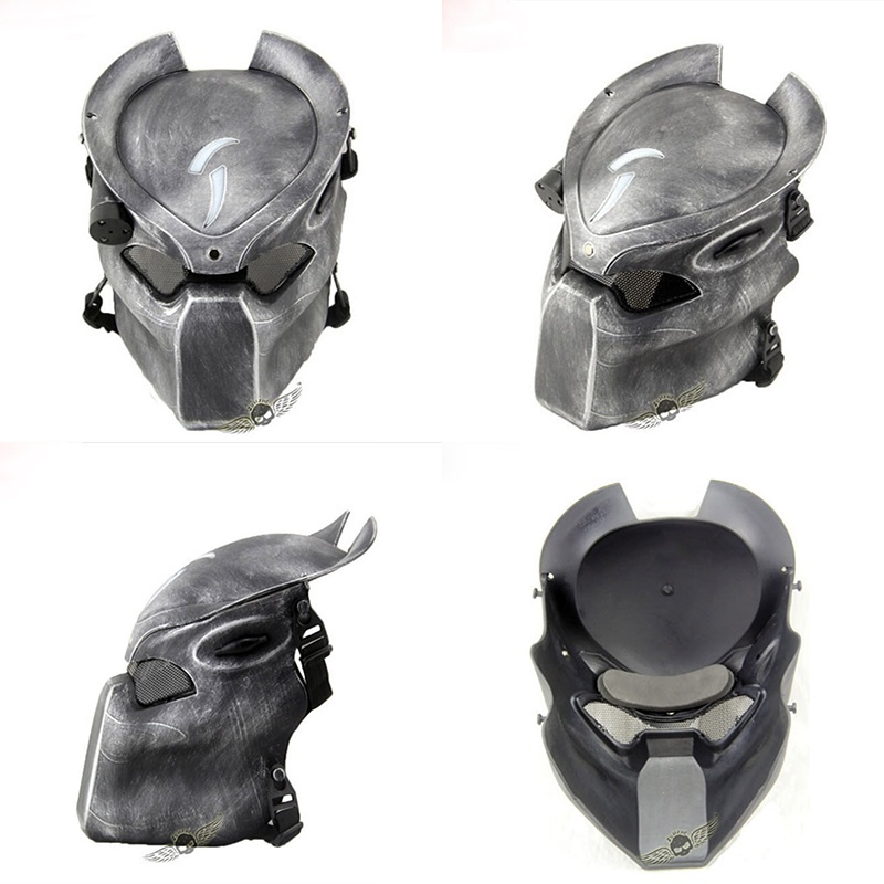 Alien Vs Predator Lonely Wolf Mask With Lamp Outdoor Wargame Tactical Mask Full Face CS Mask Halloween Party