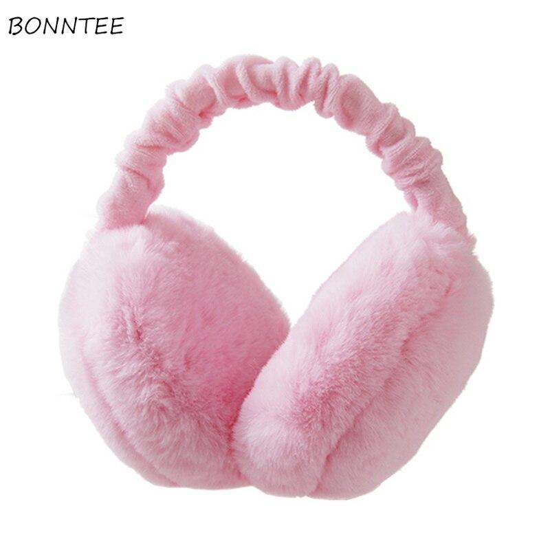 Earmuffs Women Harakuju Kawaii Winter Warm Soft Furry Solid Folding Womens Korean Style All-match Earmuff Trendy Antifreeze Chic