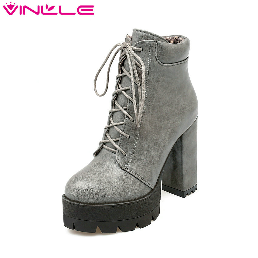 VINLLE 2016 Winter Platform Punk Shoes Women Lace Up Square High Heel Ankle Boots Solid Sexy
