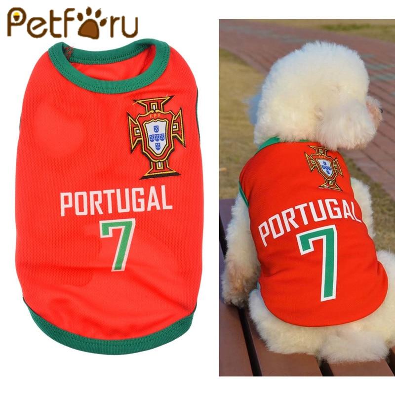 Petforu Verano Lindo Perro Mascota Chaleco Cachorro Camiseta Mundial de Fútbol ropa de perro ropa de perro perro Ropa deportiva camiseta de fútbol