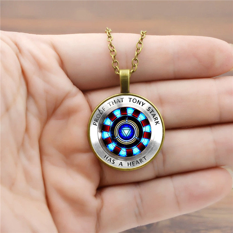 Marvel Avengers Childrens Necklace Toy Iron man Arc Reactor Model Pendant Jewelry Gift for Kids