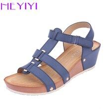 Women Sandals Platform Wedges Shoes Soft PU Leather Narrow B