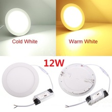 LED Panel Down light + Drivers 12W Round LED Ceiling Light Recessed bathroom lamp AC85-265V DHL Free