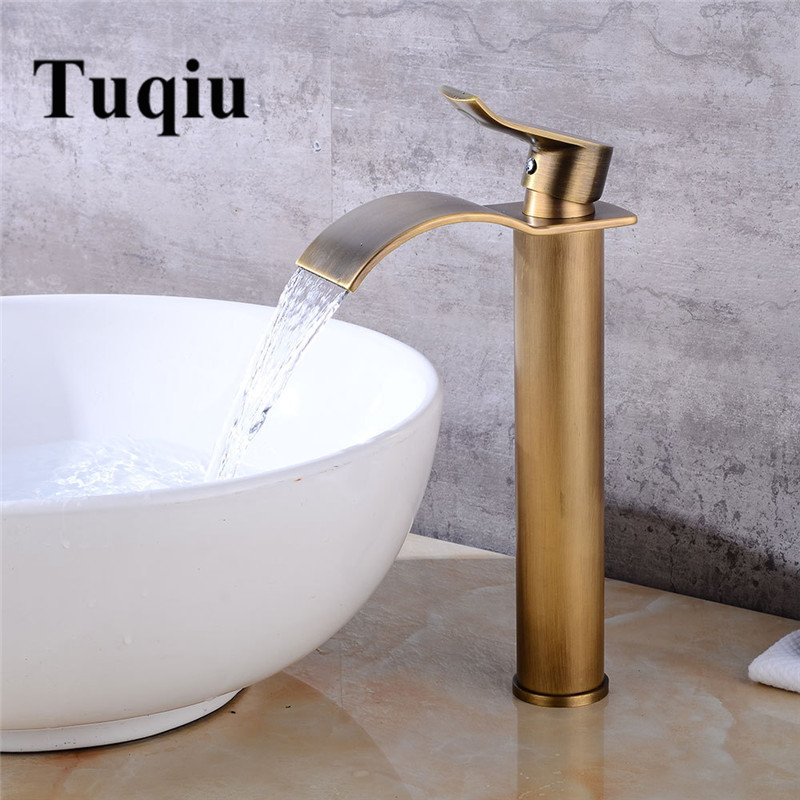 Basin Faucet Waterfall Bathroom Faucet Single handle Basin Mixer Tap Bath Antique Faucet Brass Sink Water
