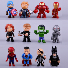 12 pcs/set  3-5 cm Avengers Action Figure Batman Hulk Action dolls toys for boys girls gift