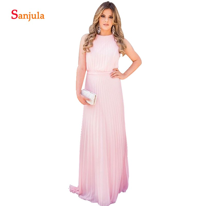 Draped Chiffon   Bridesmaid     Dresses   Long Pink Wedding Guest Gowns A-line Tank Floor Length Elegant Women   Dress   vestidos festa long