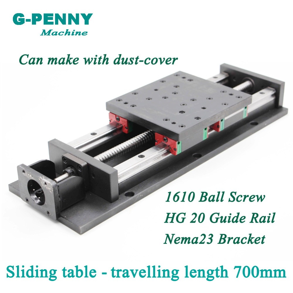 High Precision! Sliding table travelling length 700mm Chinese HG20 Linear Guide Rail linear motion Ball Screw 1610 for ZAxisHigh Precision! Sliding table travelling length 700mm Chinese HG20 Linear Guide Rail linear motion Ball Screw 1610 for ZAxis