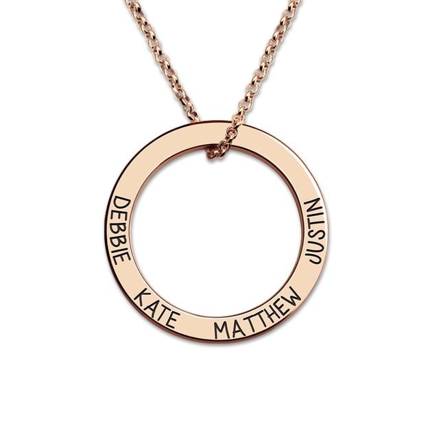 Custom engraved names hoop necklace rose gold color circle pendant custom engraved names hoop necklace rose gold color circle pendant family name necklace for mother aloadofball Gallery