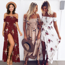 Bohemian Women Fashion Maxi Dress Off Shoulder Floral Print Beach Summer Dresses Casual Ladies Long Party Dress MLD700