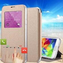 Capinha para Celular pu de couro para samsung galaxy s5 Mini Deslizou Call Ver Janela Capa Coque Para Galaxy S5Mini G800