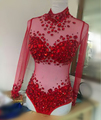 Niza , la reina de desgaste de la etapa del mono Rhinestone del traje Perspectivite Prom Wear ropa de danza partido del club nocturno espectáculo traje trajes