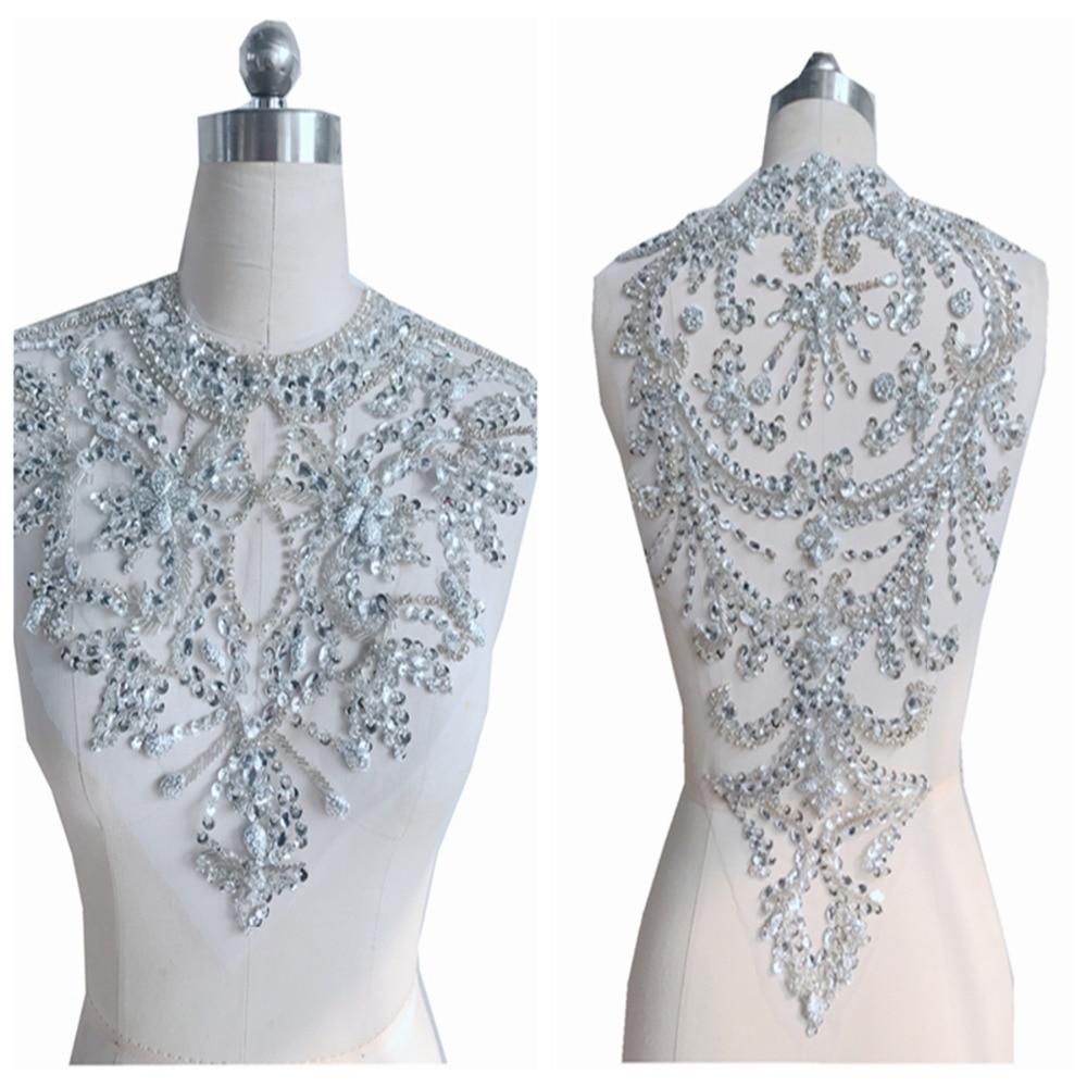 اليدوية الفضة الكريستال بقع triming خياطة على الراين زين على شبكة لفستان الأمامي والخلفي 33*41 cm و 52*32 cm-في لصقات طبية من المنزل والحديقة على  مجموعة 1