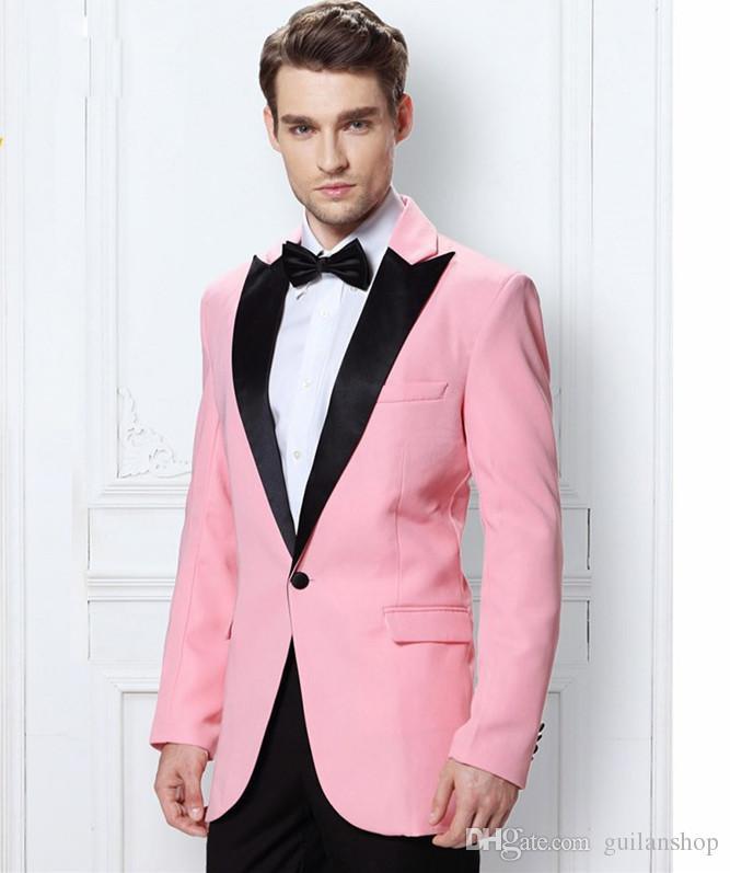 2017 Latest Coat Pant Designs Hot Pink Men Suit Jacket Slim Fit 2 Piece Tuxedo Custom Blazer Groom Prom Suits Terno Masculino
