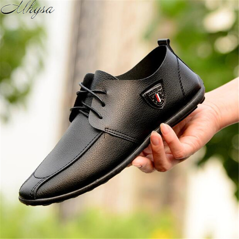 Mhysa 2019 New Lok Fu Men's Shoes Comfortable Breathable Fashion Casual Shoes Leather Breathable Casual Shoes Men Spring L442
