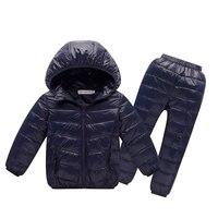 Kinder winterkleidung stellt für 3-10Y jungen und mädchen mit kapuze 90% weiße ente daunenmantel + hosen schnee warme kinder kleidung anzüge
