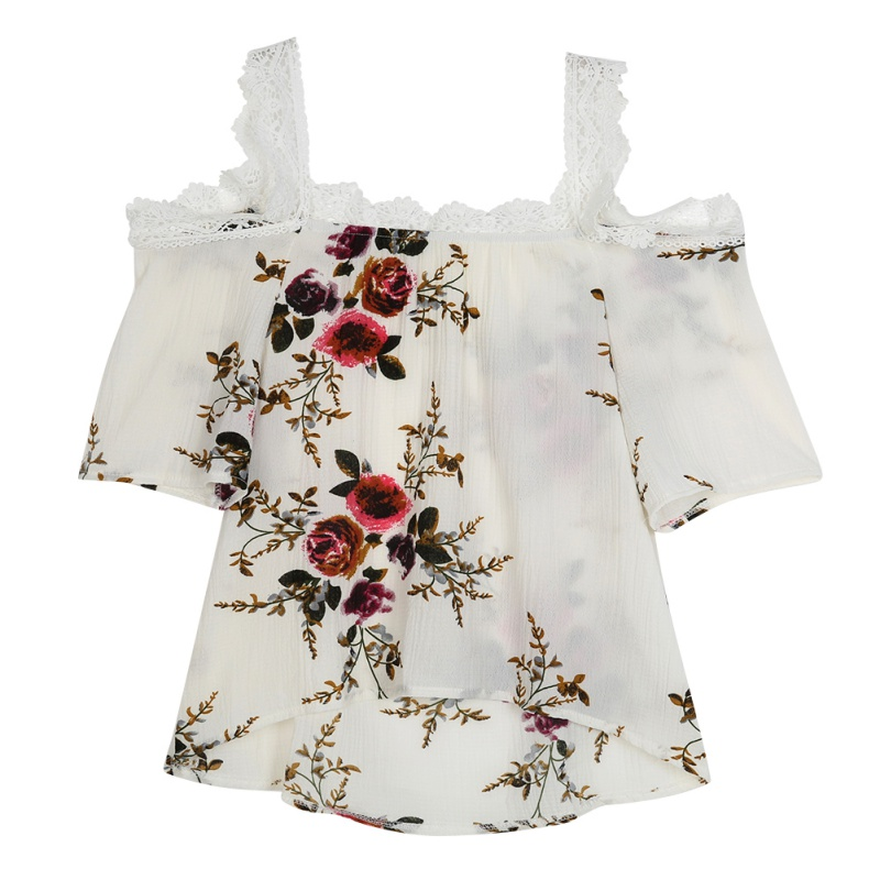 Summer Girls Fashion Elegant Lace Tanks Tops Women Sexy Floral Print shirt Tops Tees Lace embellishment