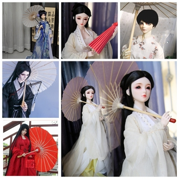 Red Chinese Style Paper Umbrella Prop For 11 1/6 27cm 1/4 1/3 BJD SD MSD YOSD DD DOD DK DZ Volks doll Photograph Free shipping [wamami] 50 white chest op sweater tight knitwear for 1 4 msd dod bjd girl doll