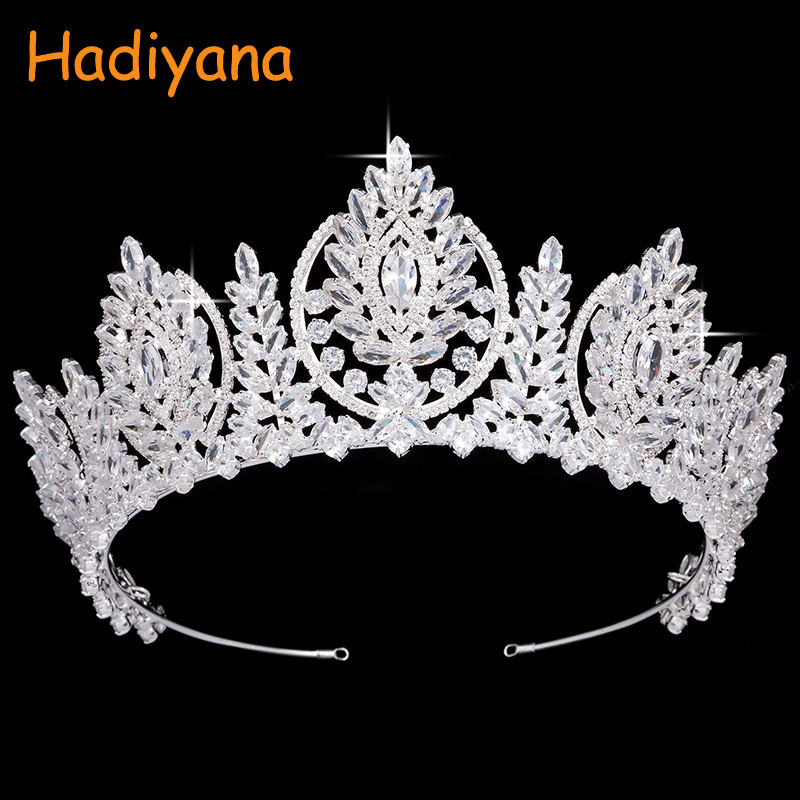 Hadiyana Gorgeous Pageant Hair Accessory Crowns New Sparkling High Quality Zincon Big Wedding Crown Headband Bridal Tiara BC4459Hadiyana Gorgeous Pageant Hair Accessory Crowns New Sparkling High Quality Zincon Big Wedding Crown Headband Bridal Tiara BC4459