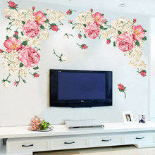 190*90cm Big Size Peony Flower Wall Stickers Bedroom TV Sofa Wall Art Decal Decoration Romantic Flowers Home Decors  Wall Poster