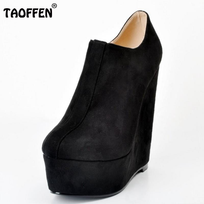 где купить  Women Round Toe Ankle Boots Woman Fashion Platform Wedge Botas Ladies Brand Suede Leather High Heel Shoes Footwear Size 34-47  по лучшей цене