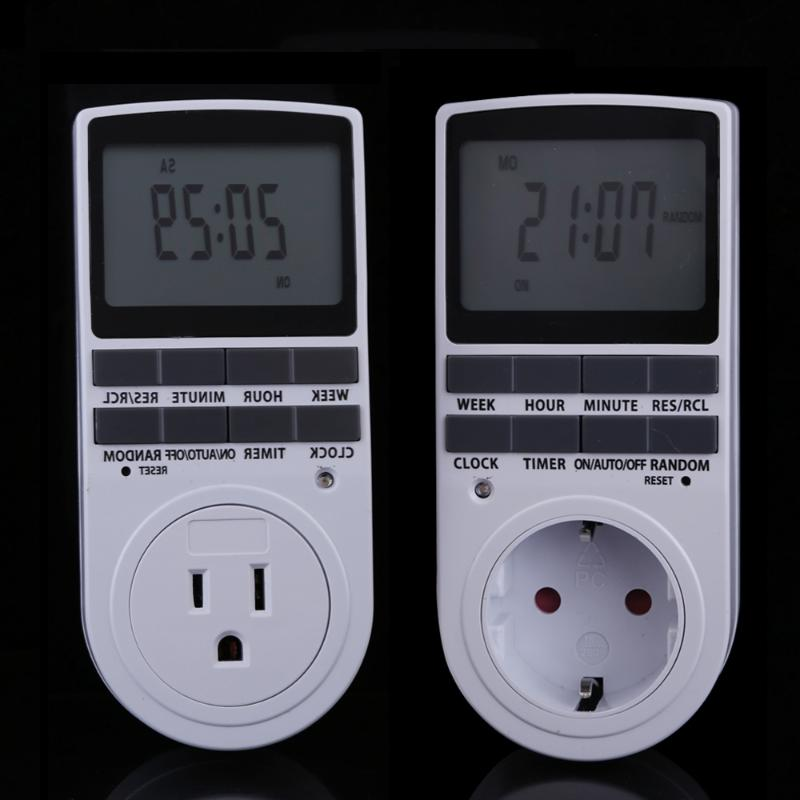 Enchufe de la UE portátil Plug-in temporizador Digital 24 h 7day semana con pantalla LCD aparato interior/ TV/PC/ventiladores/Cocina