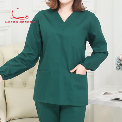 Operation Clothes Dark Green Cotton Brush Hand Wear Short Sleeve Men's And Women's Isolation Clothes Doctor's Clothing