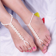 Statement Elasticity Simulated Pearl Weaving Anklets Bracelets Vintage Beads Chain For Female Gift Leg