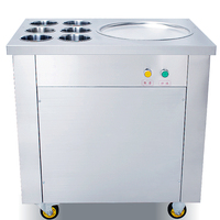 Free shipping one pan with six buckets fried ice cream machine fry ice machine&freeze yoghurt ice pan machine\ freeze milk maker