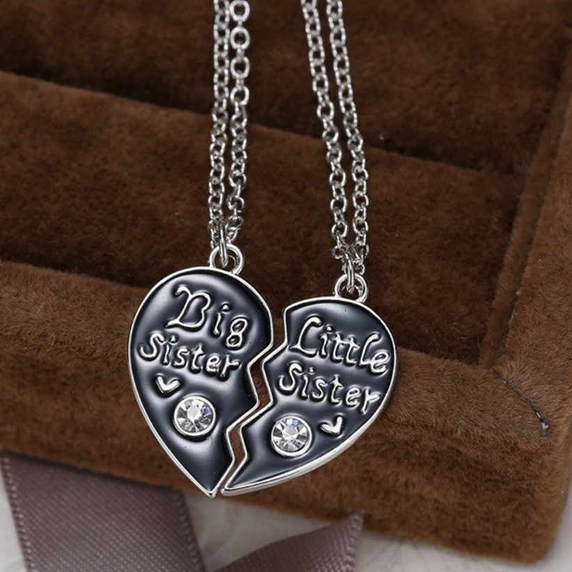 Unique Gifts Family Part - 27: Unique Personalized Gift For Family Big Sister Little Sister Couple  Necklaces Gifts Handstamped Jewelry Broken Heart