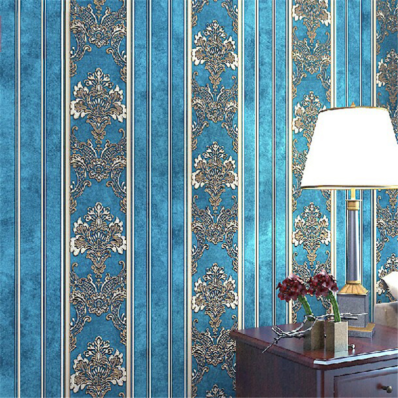 beibehang of wall paper European 3D Damask Pattern Wallpaper Non-Woven Stripe Wall Paper Roll Top mural 3D papel parede beibehang retro european damascus non woven wallpaper roll mural papel de parede 3d flooring floral wall paper for living room