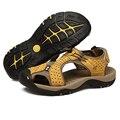 Plus Size EU38-46 Cuero Suave Sandalias de Los Hombres Zapatos Masculinos Clásicos de Costura Hecha A Mano Genuina Verano de Cuero Zapatillas Para Los Hombres