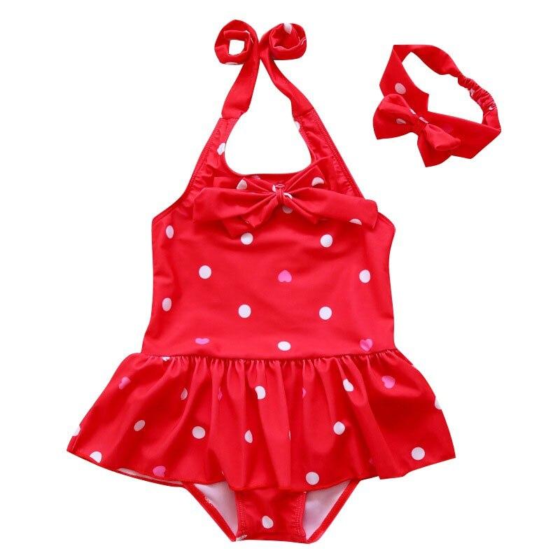 Baby Set Toddler Baby Girl Bikini Swimsuit Dot Beach Bow One Pieces Swimwear Bathing Suit + Headband