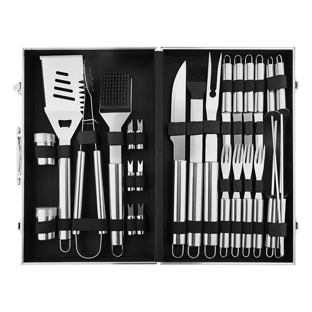 BBQ Grill Tools Set 26 Barbecue Accessories Stainless Steel Case Outdoor Grillin