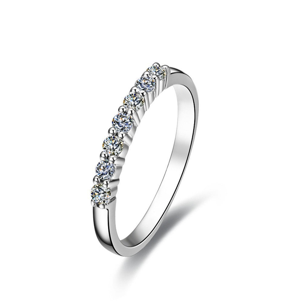 Lovely style seven stones synthetic diamonds bridal ring for Lindenwold fine jewelers jewelry showroom price
