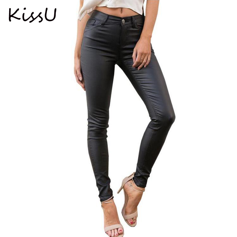 KissU Slim leather women pants capris leggings Autumn winter sexy high waist pants trousers Black pencil