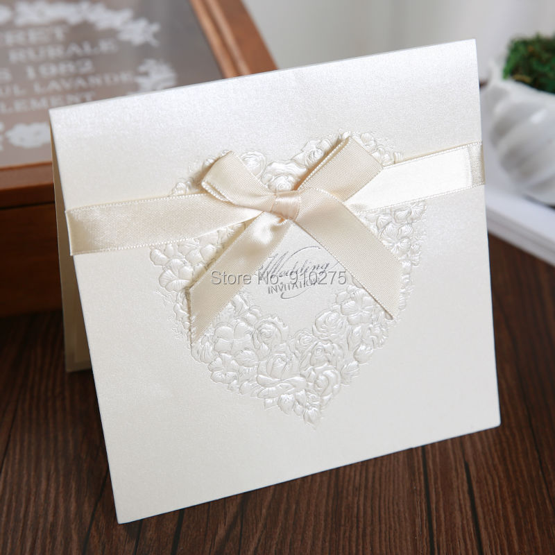 popular folded wedding invitations with ribbon-buy cheap folded, Wedding invitations