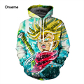 Mais novo Anime Dragon Ball Z Super Saiyan Goku Majin Buu Vegeta Brolly 3D Hoodies Pullovers Camisolas Com Capuz Harajuku Capuz