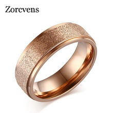 ZORCVENS New Fashion Titanium Steel Ring High Quality Black Rose Gold Silver Color Wedding engagement Frosted Rings for Women(China)