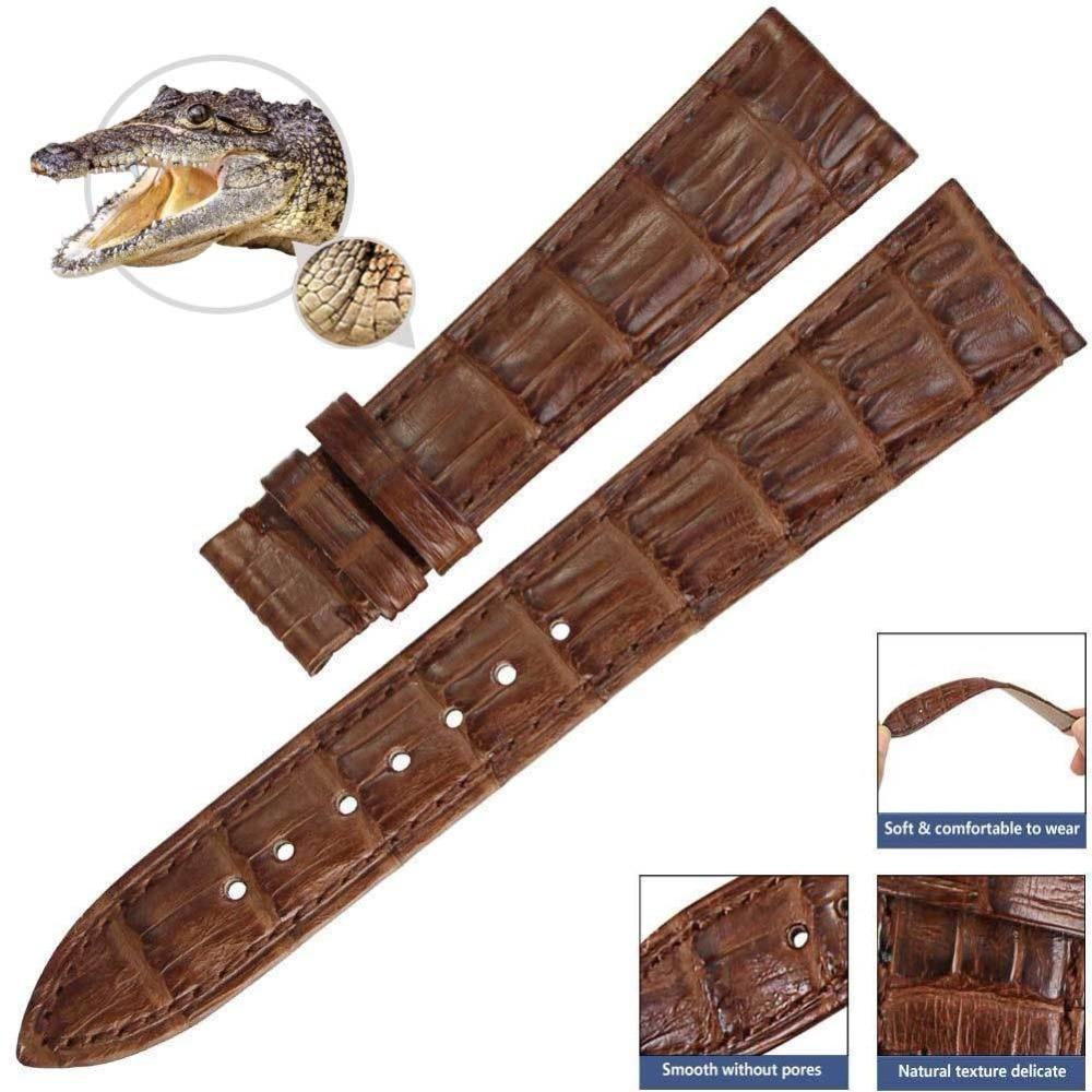 PETSIDUN 100% Genuine Crocodile Leather Watch Band Black Alligator Strap 14mm-24mm relogio strap black and coffee genuine leather alligator crocodile grain watch band