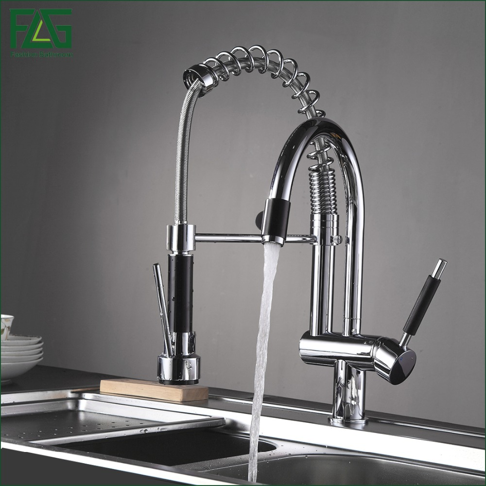 FLG Spring Style Kitchen Faucet Hand Spray Chrome Cast Deck Mounted 3 Function Water Outlet Rotatable
