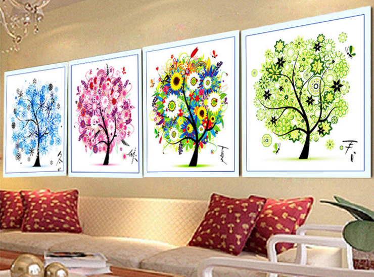 New colorful cross stitch kit four seasons tree counted for Garden room 4 seasons