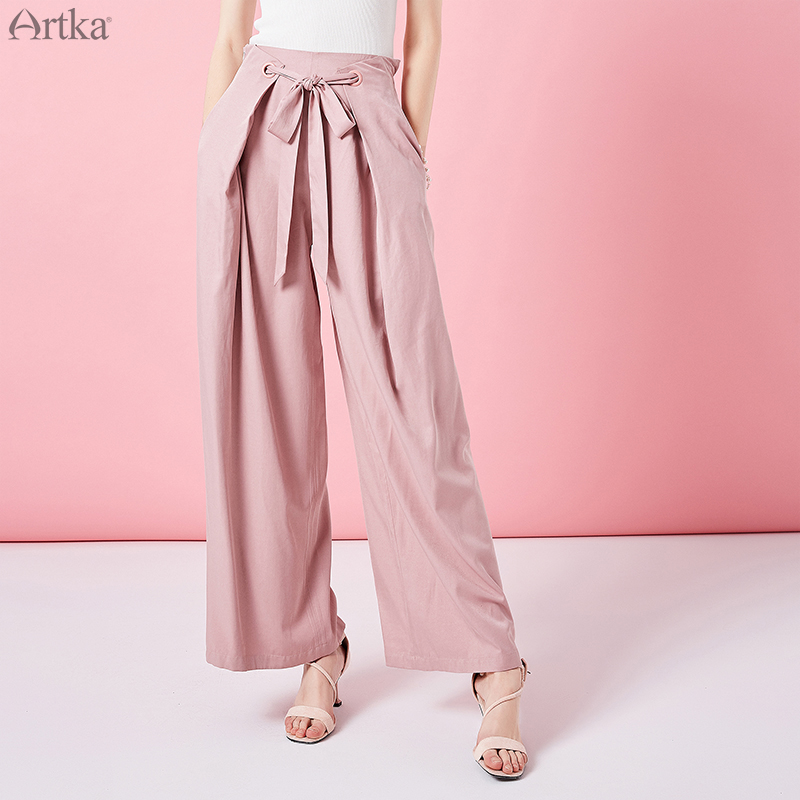 ARTKA 2019 Spring New High Waist Wide Leg Pants For Women Solid Color Casual Fashion Sashes