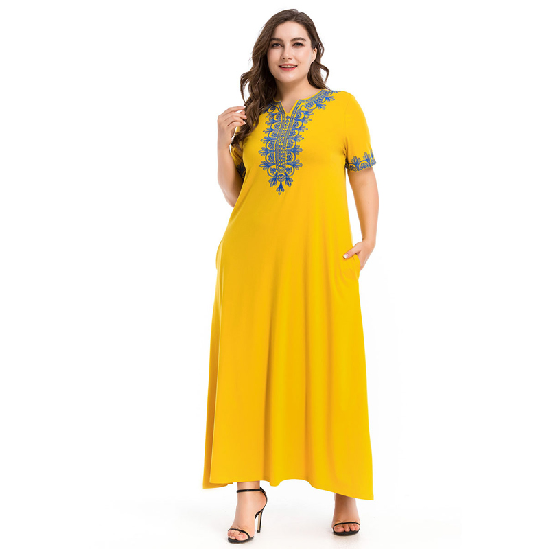 2c890f6e589 Elegant Muslim Dress Applique Big Size Abaya Turkish Islamic Short Sleeve  Robe Gowns Yellow Middle East Dubai Women Clothing 4XL-in Dresses from  Women s ...