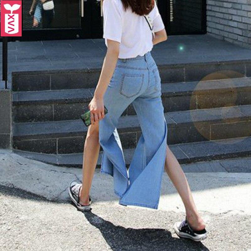 Super mode femmes coton côté haut fendu à jambes larges Jeans pantalons de survêtement pantalons de sport pantalon 2018 automne