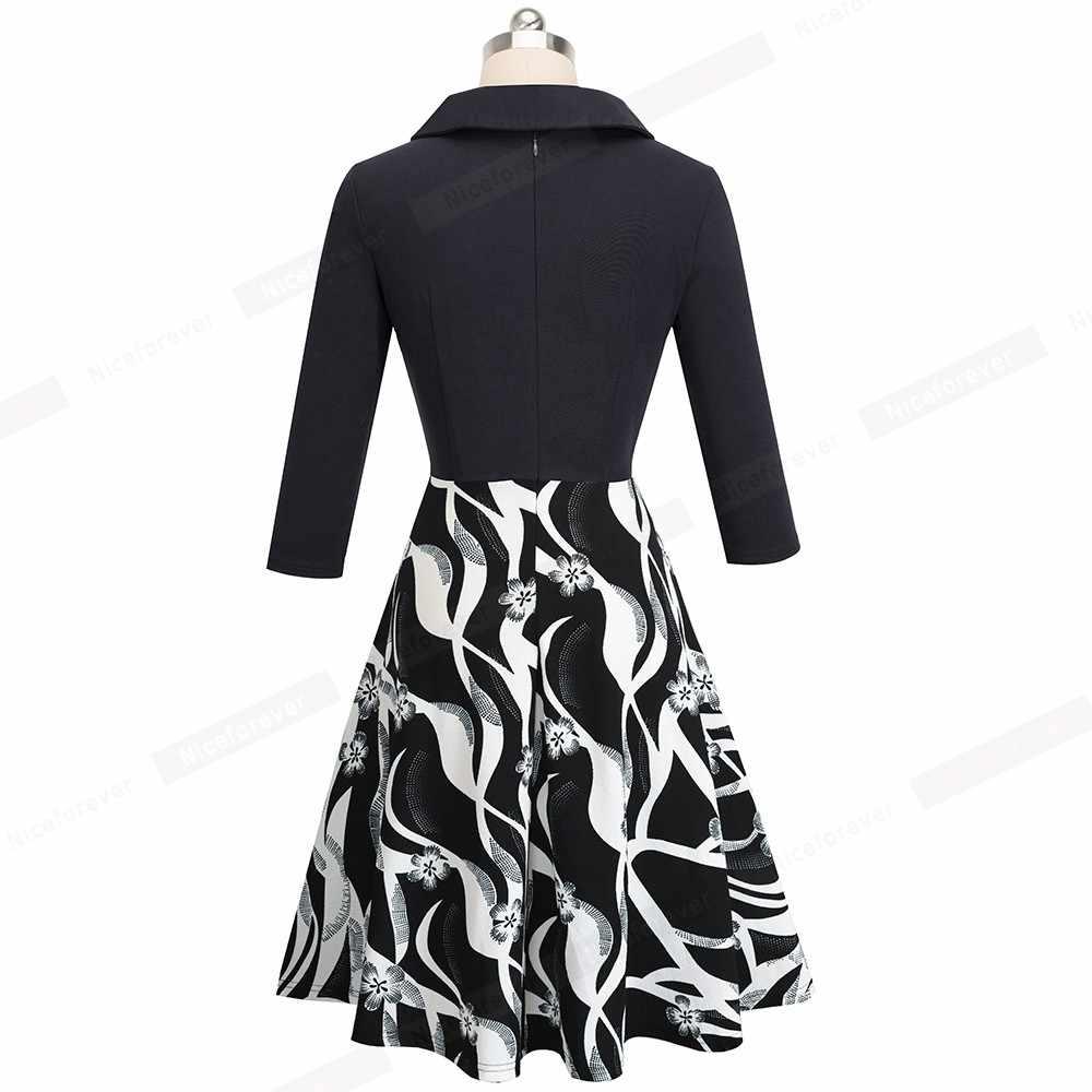 Хороший-навсегда с цветным Ретро принтом отложным воротником vestidos Бизнес офисные вечерние Flare Swing женское платье A154