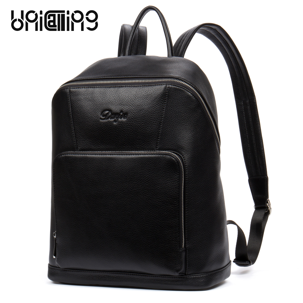 UniCalling men's leather backpack fashion men trendy genuine leather backpack male business travel leather backpack unicalling denim