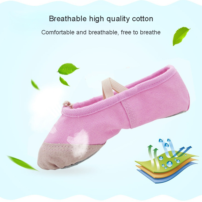 A Pair Of Male And Female Adult Children Soft Canvas Soft Bottom Elastic Yoga Dance Shoes