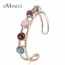eManco Wholesale Fashion Exaggerated Cuff Bangles & Bracelets for Women Hollow Zinc alloy Nature Stone Bangles&Bracelets Jewelry(China)