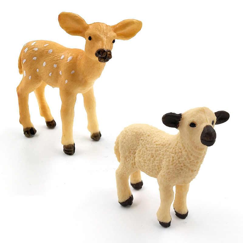 Mini Alpaca Warthog Sheep Deer Fox Monkey animal model figurine home decor miniature fairy garden decoration accessories modern